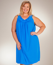 Plus Shadowline Petals Sleeveless Waltz Nightgown - Sapphire