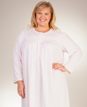 Plus Smocked Cuddleknit Nightgowns - Miss Elaine Long Gown - Peach