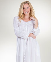 Eileen West Cotton Robe or Gown - Long Sleeve Button Down in Carolina