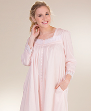 Eileen West Cotton Robe or Gown - Long Sleeve Button Down in Charlotte Rose