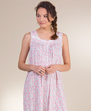 Sleeveless Cotton Modal Eileen West Long Nightgown in Pink Premiere