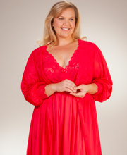 Plus Shadowline Silhouette Robe/Gown Peignoir Set - Red