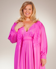 Plus Shadowline Peignoir Set - Silhouette Nightgown Robe Set in Raspberry