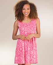 Icantoo Babydoll Dress - Cotton Beach Cover Up in Sanibel Pink