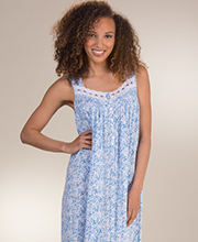 Sleeveless Eileen West MicroModal Long Nightgown in Blue Shade