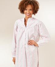 Lanz Cotton Flannel V-Neck Classic Long Nightgown - Pink Tyrolean