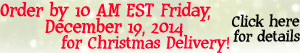 For Christmas Deliver, Order by 10 AM EST on Friday, December 19, 2014