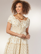 Dresses - Peasant Style Dress in White with Gold
