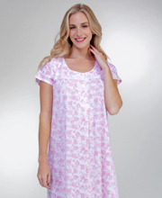 Aria Cotton Polyester Knit Short Sleeve Ballet Nightgown in Pink Paisley