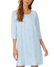 Carole Hochman Three Quarter Sleeve 100% Cotton Short Nightgown - Spring Leaves