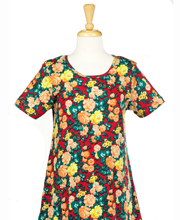 La Cera Cotton Dress Knit - Short Sleeve in Floral Glow