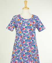La Cera Cotton Knit Plus Dress - Short Sleeve in Fairy Frolic