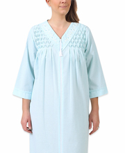 Miss Elaine Seersucker Long Zip Robe - Smocked in Blue White Check