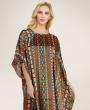 Winlar Satin Charmeuse Caftan in Bronze Geo