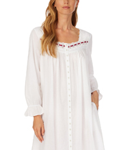 Eileen West Long Cotton Lawn Long Sleeve Button-Front Gown or Robe in White Flair