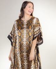 Winlar Caftans - Long Satin Charmeuse One Size Kaftan - Golden Spiral