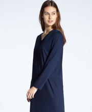 Calida Cosy Cotton Nights - Long Sleeve V-Neck Cotton Knit Nightgown in Navy Splendor