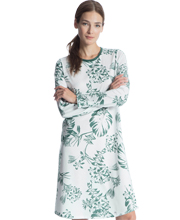 Calida Long Sleeve 100% Cotton Knit White Nightgown in Palm Forest