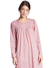 Calida Long Sleeve Nightgowns - Cotton Knit in Seashell Pink Paisley