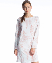 Calida Long Sleeve 100% Cotton Knit White Sleep Shirt in Hyacinth Print