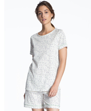 Calida Short Sleeve Cotton Knit Short Pajamas in White Confetti