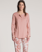 Calida Long Sleeve 100% Cotton Knit Long Pajamas in Etched Old Rose