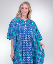 La Cera Long Woven Cotton Kaftan Lounger in Lotus Navy