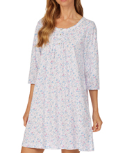 Carole Hochman Three Quarter Sleeve 100% Cotton Short Nightgown - Ditsy Bouquet
