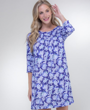 Carole Hochman Three Quarter Sleeve 100% Cotton Short Nightgown - Hydrangea