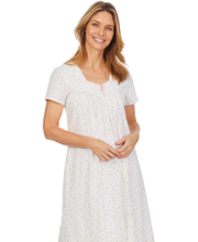 Carole Hochman Short Sleeve 100% Cotton Knit Waltz Nightgown -  Rosebud Delight