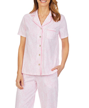 Carole Hochman Cotton Knit Pajamas - Short Sleeve Cropped PJs in Pink Paisley