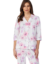 Carole Hochman Pajamas - 3/4 Sleeve Cotton Knit Long PJs in Floral Bouquet