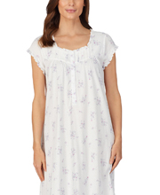 Eileen West Cotton Knit Mid Long Nightgown - Cap Sleeve in Floral Spray