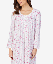 Eileen West Cotton Knit Long Nightgown - Long Sleeve in Pink Corsage