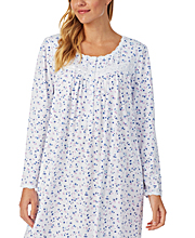 Eileen West Long Sleeve Cotton Knit Nightgown in Paradise Garden
