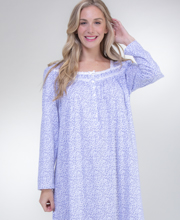 Eileen West Cotton Knit Long Nightgown - Long Sleeve in Blue Twilight