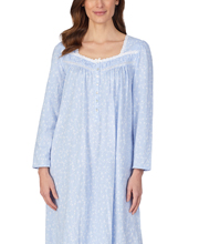 Eileen West Cotton Knit Long Nightgown - Long Sleeve in Blue Sky