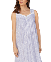 Eileen West Sleeveless Long Knit Modal Nightgown in Wisteria Wonder