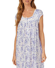 Plus Eileen West Cotton Modal Mid Nightgown - Cap Sleeve in Peri Floral