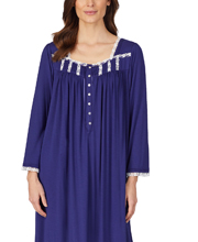 Eileen West Modal Knit Long Nightgown - Long Sleeve in Forever Indigo
