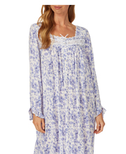 Eileen West Cotton Modal Knit Ballet Nightgown - Long Sleeve in Peri Floral