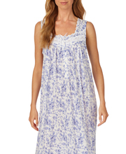 Eileen West Sleeveless Long Cotton Modal Nightgown in Peri Floral
