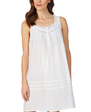 Eileen West Short Cotton Sleeveless Nightgown in Whimsy White