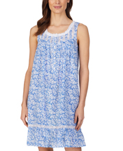 Eileen West Short Cotton Sleeveless Nightgown in Blue Daisy Floral