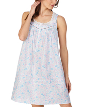 Eileen West Short Cotton Sleeveless Nightgown in Whimsy Floral Print
