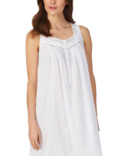 Eileen West Long Cotton Sleeveless Nightgown in Whimsy White