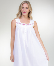 Eileen West Long Cotton Sleeveless Nightgown in White Flair