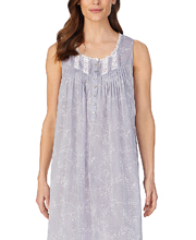 Eileen West Cotton Chambray Sleeveless Long Nightgown in Soft Grey Floral