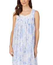 Eileen West Sleeveless Woven Cotton Ballet Nightgown in Blue Rose Floral