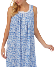 Eileen West Long Cotton Sleeveless Nightgown in Blue Daisy Floral